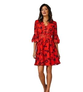 Guess Red & Black Floral Beautiful Dress S